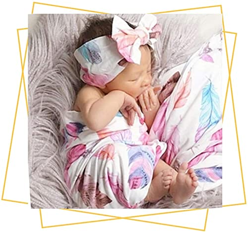 Newborn Receiving Blanket Headband Set - Unisex Soft Baby Swaddle Girl Boy Gifts (Feather)