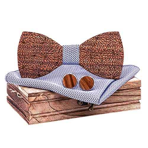 BXzhiri Best Gift Wooden Bow Tie Set Manual Wooden Bow Tie Handkerchief Set Men's Bowtie Bow for Wedding Party