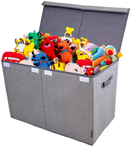 Toy Chest and Storage Box | House Organization Products | Toy Organizer Bins and Toy Bin Organizer for Tots Toys | Girls Toy Box or Boys Toy Box | Kids Room Storage or Living Room Storage (Gray)
