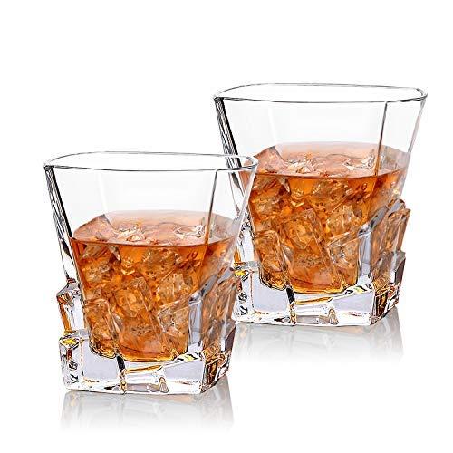Cooko Iceberg Whisky Gläser, Kristallglas Whiskey karaffe, Wein Zubehör für Whiskey,Cocktail, Bourbon,Saft,300ml 2 er Set (10.6 oz)