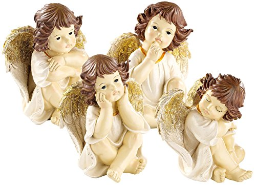 infactory Weihnachtsengel Figur: Große Deko-Weihnachtsengel im 4-er Set (Engelfiguren Weihnachten)