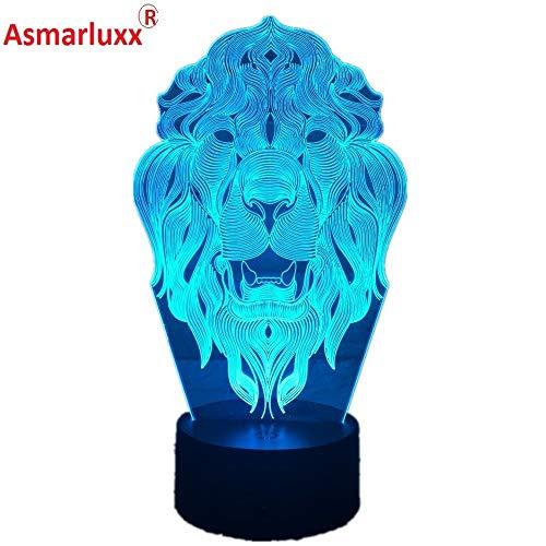 Löwengesicht Tierfreunde Nachtlicht 3D LED Tischlampe Kinder Geburtstagsgeschenk Nachtzimmer Dekoration