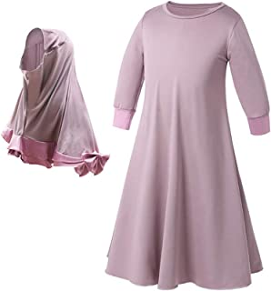 Zhhlinyuan 2pcs Girl's Soft O-Neck Muslim Islamic Long Sleeve Arab Prayer Dresse