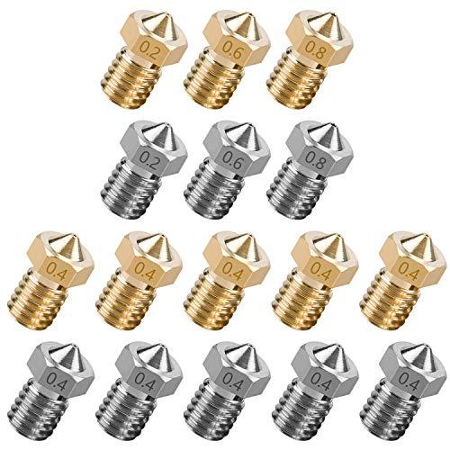 NATEE 16pcs Boquilla de Repuesto de Impresora 3D, Extrusoras de Impresora 3D, Boquilla de Impresora 3D, Cabezal de Impresora 3D Latón Acero Inoxidable 0.2 0.4 0.6 0.8 Rosca M6 Tipo Compatible