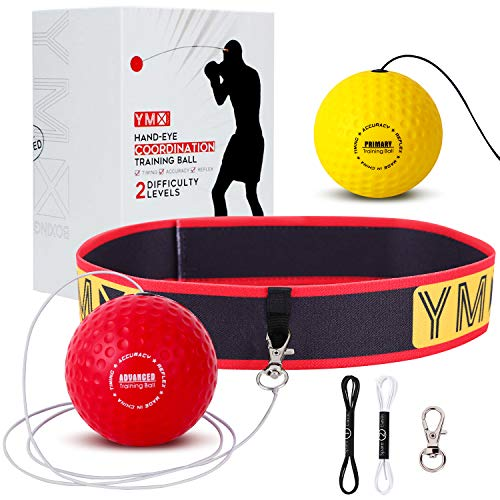 YMX BOXING Reflex Ball on String | Fight Ball Headband | Funny Hand Eye Coordination Training Gear for Boxing, Kickboxing, Muay Thai, MMA | Two Reaction Balls for Kids and Pro Boxer | Gift Idea 2019