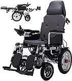 FGVDJ Faltbarer Hochleistungs-Elektrorollstuhl mit Verstellbarer Kopfstütze und Pedal,Joystick, Antrieb mit Elektroantrieb oder Verwendung als manueller Rollstuhl,Grau