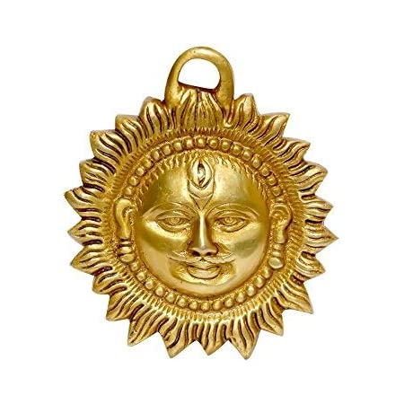 P.J.Handicrafts Brass Idol of Sun Face Wall Hanging for Positivity at Home & Office