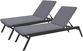 Outdoor Aluminium Sunbed Lounger with Cushions Pool Beach Adjustable Day Bed (Single, Light Grey)