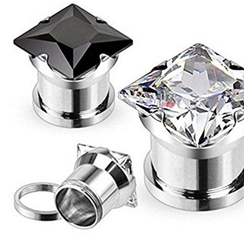 Negro, 8GA (3 mm) Juego de puntas cuadradas de acero quirúrgico de cristal para túnel de carne, con tapón para oreja