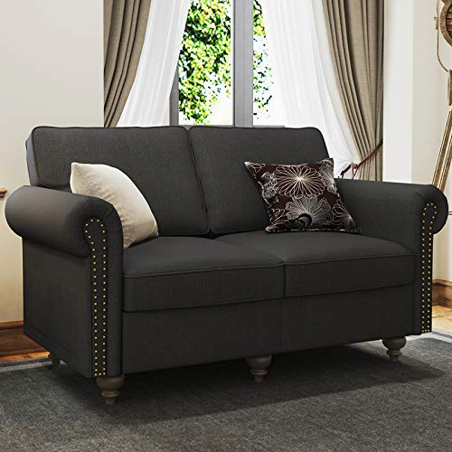 Belffin Small Sofa 2 Seater Fabric Couch Dark Grey Sofa Love Seat for Living Room
