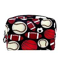 コスメティックバッグトラベルトイレタリー 女性用デイリーポータブルジッパークロージャーメイクアップバッグ,ボールスポーツE