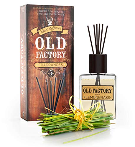 Reed Diffuser Set - Lemongrass - Essential Oil Aromatherapy Scent Bottle and 6 Clog-Resistant Fiber Reeds - Premium Scented Diffusers for Oils - 5-Ounces