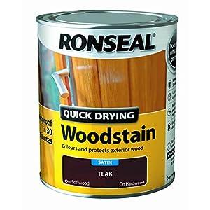 Ronseal Quick Drying Woodstain Teak Satin 750ml