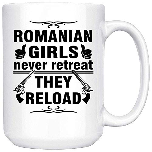 N\A Taza de café rumana Blanca - Buenos Regalos para niñas - Taza de café única - Calcomanía de decoración Recuerdos Memorabilia Gran Taza de Regalo Taza de café Divertida + Caja