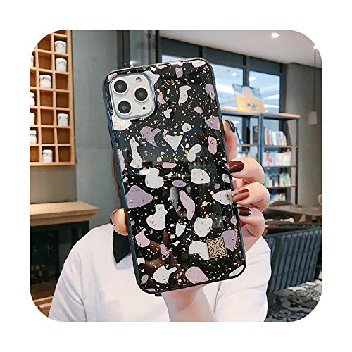 Caja de teléfono con hoja de flor con purpurina dorada para iPhone 11 11 Pro Max XR X XS Max 7 8 6 Plus Lujo suave epoxi a prueba de golpes cubierta trasera T16-para iPhone 7 u 8