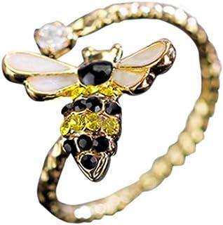 CutieJewelry 花朵水钻火爆蜜蜂吊坠可爱漂亮可调节戒指