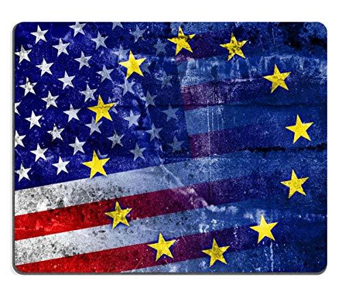 Mousepad Bandera De Los Estados Unidos Y La Unión Europea Pintada En Una Pared De Grunge Alfombrilla De Ratón Oblonga De 25 X 30 M Antideslizante para Juegos De Goma Personalizado