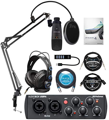PreSonus AudioBox USB 96 Audio Interface 25th Anniversary Edition Bundle with Blucoil Boom Arm Plus Pop Filter, USB Hub Type-A, 10' Straight Instrument Cable, 10' XLR and 3' USB Extension Cables