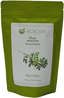 100% Pure and Natural Biokoma Rue Dried Herb 50g (1.76oz) in Resealable Moisture Proof Pouch