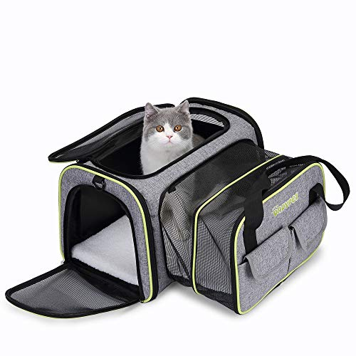 DADYPET Pet Carrier Airline Approved, Expandable Soft-Sided Cat Travel Carrier with Wool Rugs Collapsible Portable Dog Carrier Bag for Small Medium Puppy Dogs Cats (17.7x13x11 inch)