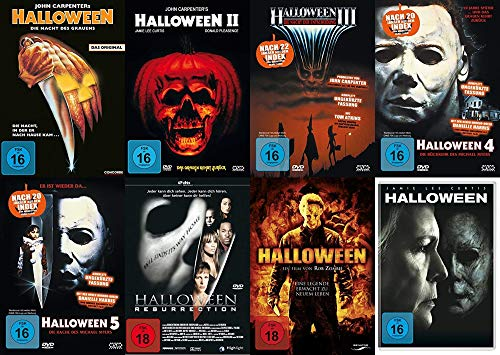 HALLOWEEN - DIE NÄCHTE DES GRAUENS - Teil 1 2 3 4 5 + Resurrection + Remake + 2018 - Michael Myers 8 DVD Collection