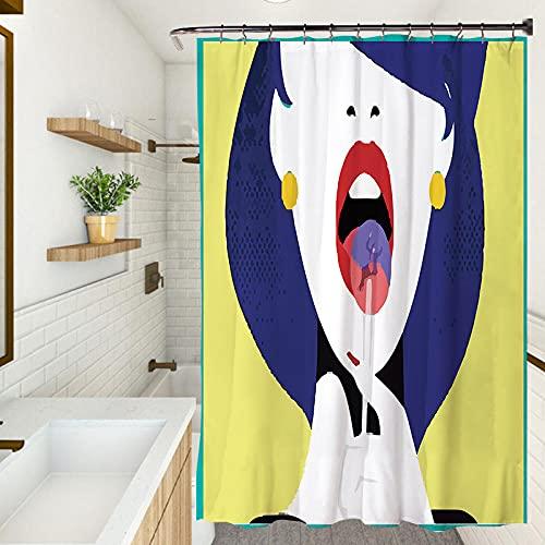 Cortina de ducha, impermeable resistente al moho cortina de ducha, protección del medio ambiente cortina engrosada (180X200CM)Impression girl
