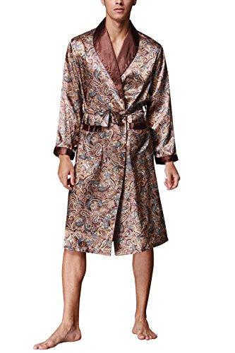 Dolamen Herren Morgenmantel Bademäntel Kimono, Weich u. Leicht Glatte Luxus Satin Nachtwäsche Bademantel Robe Negligee locker Schlafanzug mit Belt & Pockets (X-Large, Braun)