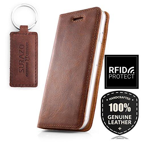 SURAZO Smart Magnet - Premium Vintage Ledertasche Schutzhülle Wallet Hülle aus Echtesleder Nubukleder Farbe Nussbraun für Samsung Galaxy S10 Plus