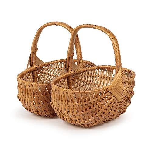 TYSK Design Juego de 2 cestas clásicas para niños (tamaño y forma a elegir), cesta para flores, cesta de Pascua, cesta de la compra de niños, cesta de mimbre trenzado