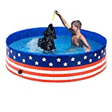 Foldable Dog Pool,Collapsible Dog Pet Pool Bathing Tub Kiddie Pool,PVC Pet Pool,48inch Pet Swimming Pool for Dogs Cats(US Flag Pattern)