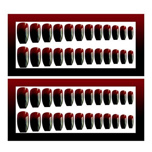 Beaupretty 24 Stks Nep Nagels Matte Gradiënt Kunstnagels Kunstmatige Nep Nagels Volledige Dekking Vingernagels Nagel Tips Kit Manicure Accessoires Voor Vrouwen Salon Zwart en Rood