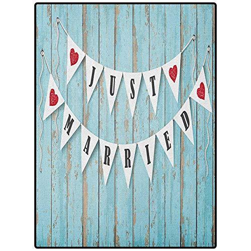 Wedding Modern Runner Rug Carpet for Girls Kids Baby Room Nursery Mats Just Married Letters on Triangular Flags Hanged on Blue Wooden Door Art Print Blue Black Red 72' x 24'