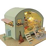 Dinglong DIY 3D Dollhouse Papier Miniature Meubles Kit LED Light Enfants Grils Cadeau Dollhouse Miniature Bricolage en Bois Kit poupées Maison Mignonne Chambre Sunshine Princess (D)