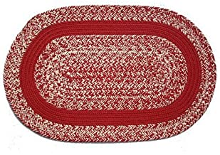 product image for Oval Braided Rug (5'x7'): Oatmeal Red,- Red Band