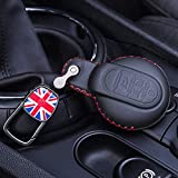 HEZHOUJI Autoschlüssel Hülle, Leder Schlüsseletui, Auto Schlüsselbund Abdeckung, Für BMW Mini Cooper S ONE JCW F54 F55 F56 F57 F60 Clubman Countryman,Schwarze rote Fahne