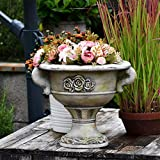 erddcbb Jardinera de urna Baja Adornada de Piedra Romana, Maceta, florero, decoración de jardín, A + High24cm