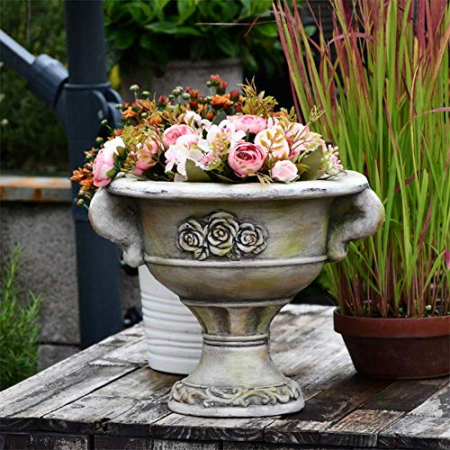 erddcbb Jardinera de urna Baja Adornada de Piedra Romana, Maceta, florero, decoración de jardín, A...
