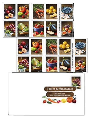 Fruits and Vegatables US Postage Stamps Featuring Grapes, Figs, Strawberries, Blueberries, Tomatoes, Carrots, Lemons and Eggplants (2 Sheets + First Day Cover)