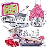 alles-meine.de GmbH 49 TLG. Backset / Kochset - Kinderküche & Koffer - aus Metall - echte Blech / Muffin Backform + Küchenhelfer Löffelküche - Kinderschürze - Muffins Backofen - ..