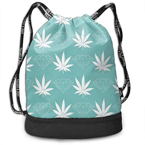 Leila Marcus Mochila con cordón, Bolsas de Cuerda de Marihuana, Almacenamiento a Granel para Gimnasio, trelling, Senderismo