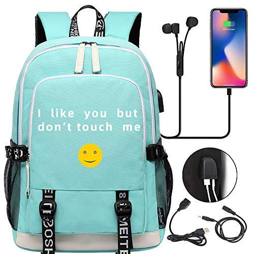 Mochila escolar para niñas y niños con puerto de carga USB, verde (Verde) - TG-I like you but don't touch me-Green