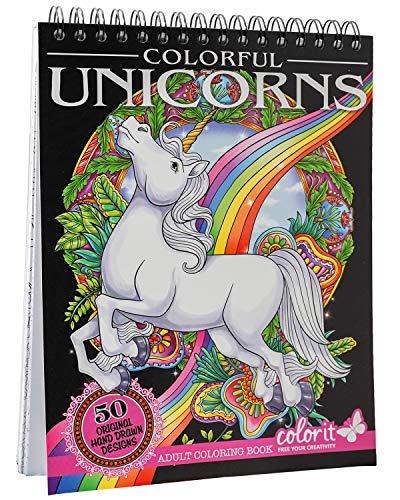 ColorIt Colorful Unicorns Libro para colorear para adultos – 50 páginas de un solo lado, papel grueso suave, tapas de tapa dura planas, encuadernación en espiral, impreso en Estados Unidos, páginas para colorear de unicornio dibujadas a mano
