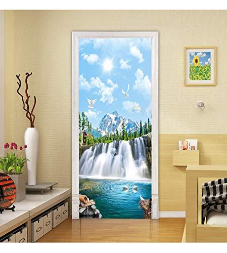 LOSAYM Etiqueta de la Puerta DIY 3D Blue Sky Waterfall Door Sticker PVC Autoadhesivo Wallpaper Decoración del hogar Wall Sticker Simulation Poster-95cm(W)*215cm(H)