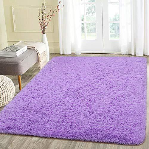Beglad 4 ft x 5.3 ft Soft Fluffy Area Rug Modern Shaggy Bedroom Rugs for Kids Room Extra Comfy Nursery Rug Floor Carpets Boys Girls Fuzzy Shag Fur Home Decor Rug, Purple