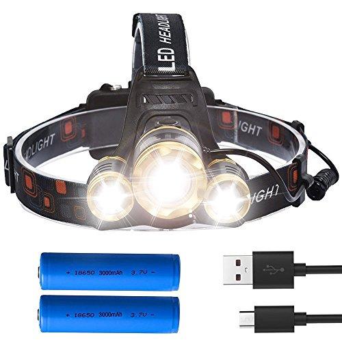 Lámpara de Cabeza LED recargable, Super luminosa 5000lúmenes 3-LED Zoomable Linterna frontal LED + 6000mAh 18650batería Outdoor Camping Correre Andar Pesca Caza Ciclismo