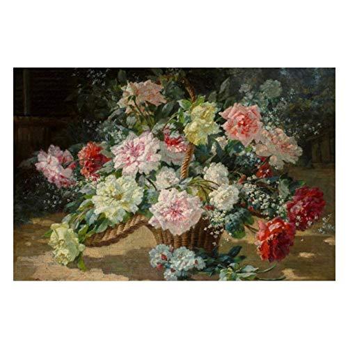 Paul Biva - Rompecabezas vintage de canasta de rosas para adultos, 500 piezas para niños, regalo para niños y niñas, 38 x 50 cm