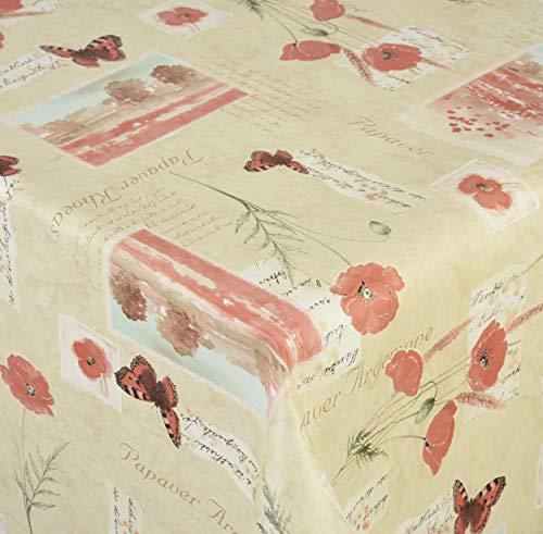 Venilia Coquelicot, Sable Linge de Table Nappe Anti Tache Pavot, Imperméable, Coton, Polyester, PVC, Rondes, x 155 cm, 55089, 155 x 155 cm