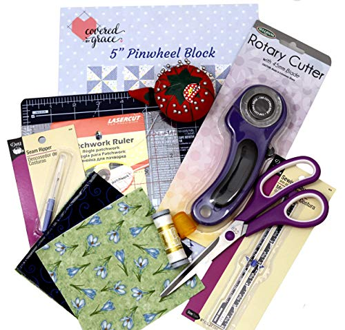 Beginner Sewing Notions for Quilting - Includes Tools, Fabric, Pattern, Instructions for 4 Complete Quilt Blocks, No Sewing Machine Needed