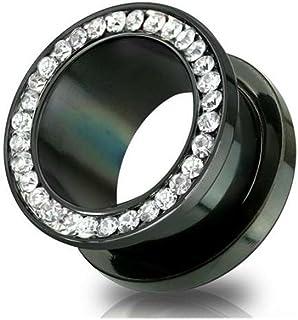 yati/_gj 1 Pcs Pink CZ Gem Rim Steel Ear Flesh Tunnels Double Flare Screw Gauge Plugs Jewels 18mm