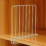Inditradition Wardrobe Shelf Divider, Cloth Organizer | Wardrobe Closet Separator (Metal, White) (Pack of 1)